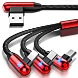 Multi Charging Cable, CAFELE Right Angle 90 Degree 3 in 1 Cable with LED Light Nylon Braided Universal USB Charger Cord with Micro USB/Type C Port Compatible Cell Phones Tablets, etc - Red/4.3ft (Color: Red, Tamaño: 4.3 feet)