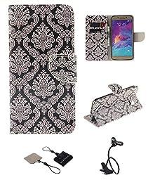 Samsung Galaxy S6 Wallet Case , Castle Cas [Totem Flower] Duplex Design Flip Card Slot Slim Fit Magnetic Premium Leather TPU Cover With Lazy Bracket Goosemeck Clamp Holder - Black