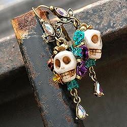 Day of the Dead Skull Earrings, Dia de los Muertos Earrings, Calavera Earrings, Dia de Muertos Jewelry, Colorful Skull Earrings, Mexican Jewelry by Sweet Romance