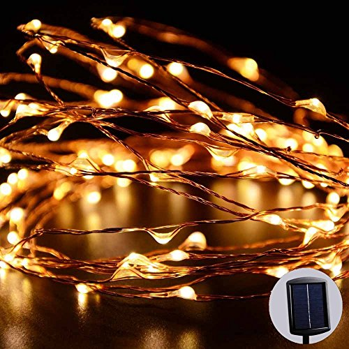 LUCKLED Outdoor Solar Powered String Lights, 120 LED Warm White Fairy Starry Copper Wire Rope lights for Indoor, Garden, Home, Patio, Wedding, Christmas Party and Holiday Decorations