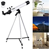 AW 50mm Kids Beginners Astronomical Refractor Telescope Spotting Scope Refractive Eyepieces Tripod (Color: White)