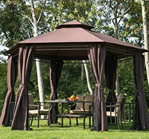 outsunny 6 kant pavillon partyzelt f r den garten aus metall mit vorhang. Black Bedroom Furniture Sets. Home Design Ideas