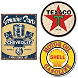 Genuine Chevrolet, Texaco and Shell Logo Vintage Home Décor Tin Signs