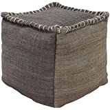 Surya POUF-247 100-Percent Jute Pouf, 18-Inch by 18-Inch by 18-Inch, Charcoal/Gray
