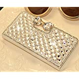 White Luxury 3D Fashion Bling Diamond Bow Bone PU Flip Wallet Leather Case Cover For Smart Mobile Phones (ZTE MAX N9520 Boost Mobile, White)