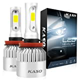 H11 LED Headlight Bulbs - KASO All-in-One Conversion Kit H8 H9 8000LM 72W/Set 6500K Cool White Highly Waterproof 3 Years Warranty (H11 H8 H9) (Tamaño: H11(H8 H9))
