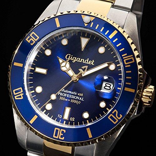 Gigandet Automatik Herren-Armbanduhr Sea Ground Taucheruhr Uhr Datum Analog Edelstahlarmband Blau Gold G2-001 4