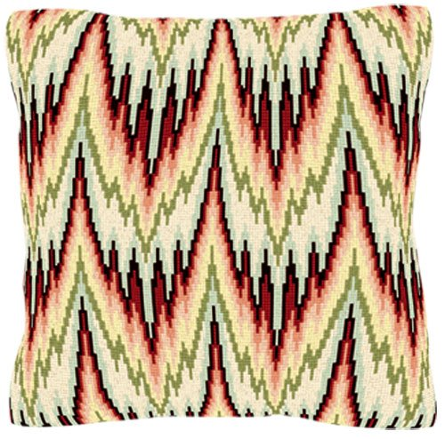 Bargello - Peach tent stitch tapestry cushion from Brigantia Needlework.