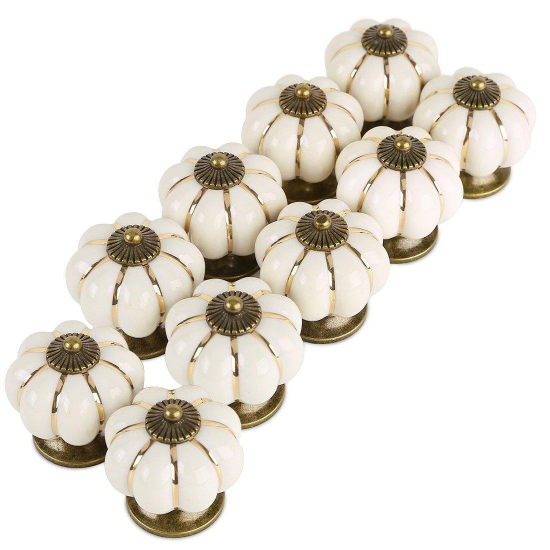 Pumpkin Ceramic Drawer Knobs, YIFAN Set of 10 Cabinet Pulls Dresser Cupboard Door Handles - White 4