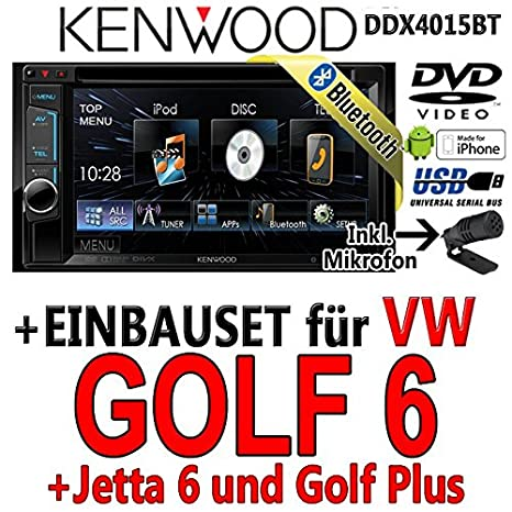 VW golf 6 dDX4015BT-kenwood autoradio multimédia 2 dIN avec kit de montage