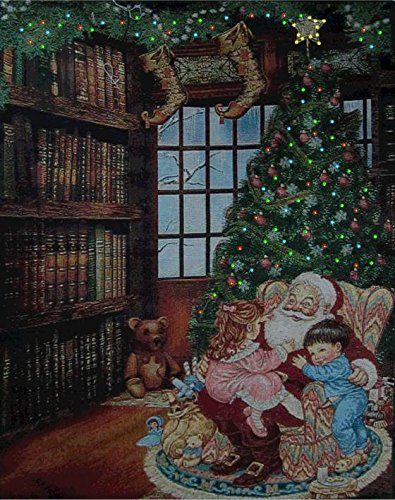 Lightahead® Holiday Memories Double Sided Fiber Optic Santa/Cottage 26*18 Inch Tapestry On Wooden Pole.Great Christmas Decoration & Gifts