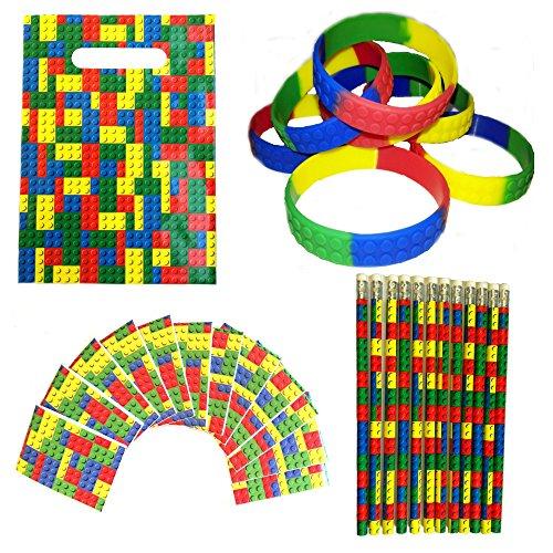 Building-Blocks-Party-Favors-Bundle-Kit-Pack-Enough-For-12-Kids-by-MinifigFansTM-Treat-Bags-Bracelets-Pencils-Notebooks