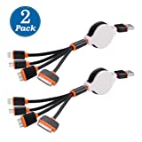 [2 Pack] USB Cable, Retractable 4 in 1 Multifunctional Universal USB Charger Cable for iPhone 7, 7 Plus, 6s, 6s Plus, SE/ 5 / 5S / 5C, 4S 4,iPad Mini, Galaxy S4,S5,S6 (Black&Orange) (Color: 2pack-Black&Orange, Tamaño: 3 Feet)