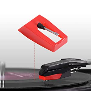 Retround Universal Turntable Replacement Stylus Turntable needle with Ceramic Tip for Power Play LP, Quick Play Flash, Contour LP, Vertical Vinyl, Archive LP, Forever LP, Live LP, LPDock, LP2Flash (Color: Red)
