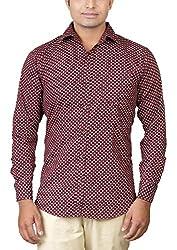 Basil Men's Lycra Cotton Blend Casual Shirt (BA360LCP35CSF-38, Maroon, 38)
