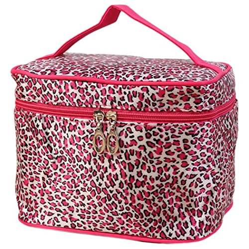 A gorgeous, low-cost leopard print cosmetics travel bag for women. with a hot pink animal print design