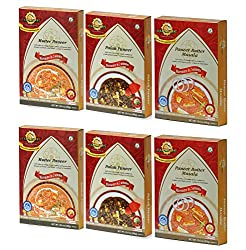 Sanskriti Combo of Paneer Butter, Mutter Paneer & Palak Paneer - Pack of 6 (2 each)