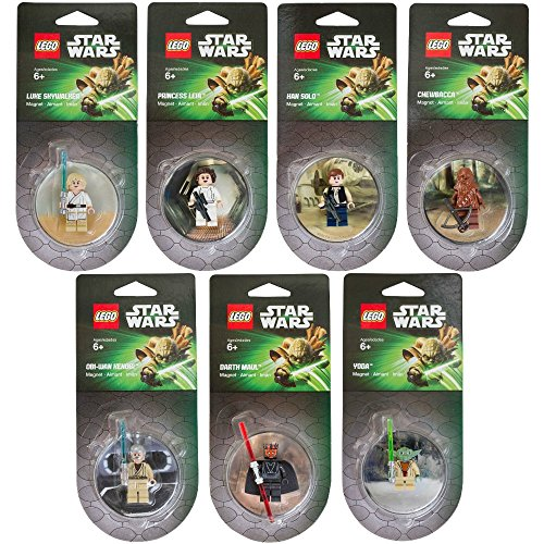 Lego Star Wars Magnet set of 7 Darth Maul Yoda Chewbacca Han Solo Luke Skywalker Obi-Wan Kenobi Princess Leia (Lego Fridge Magnets compare prices)