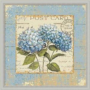 Brissonnet Blue Hydrangea Vintage Floral Wall Art Print Framed Décor