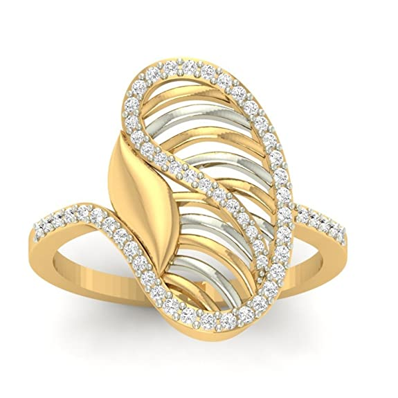 18K Yellow Gold 0.34cttw Round-Cut-Diamond (F-G Color, VS Clarity) Diamond Ring