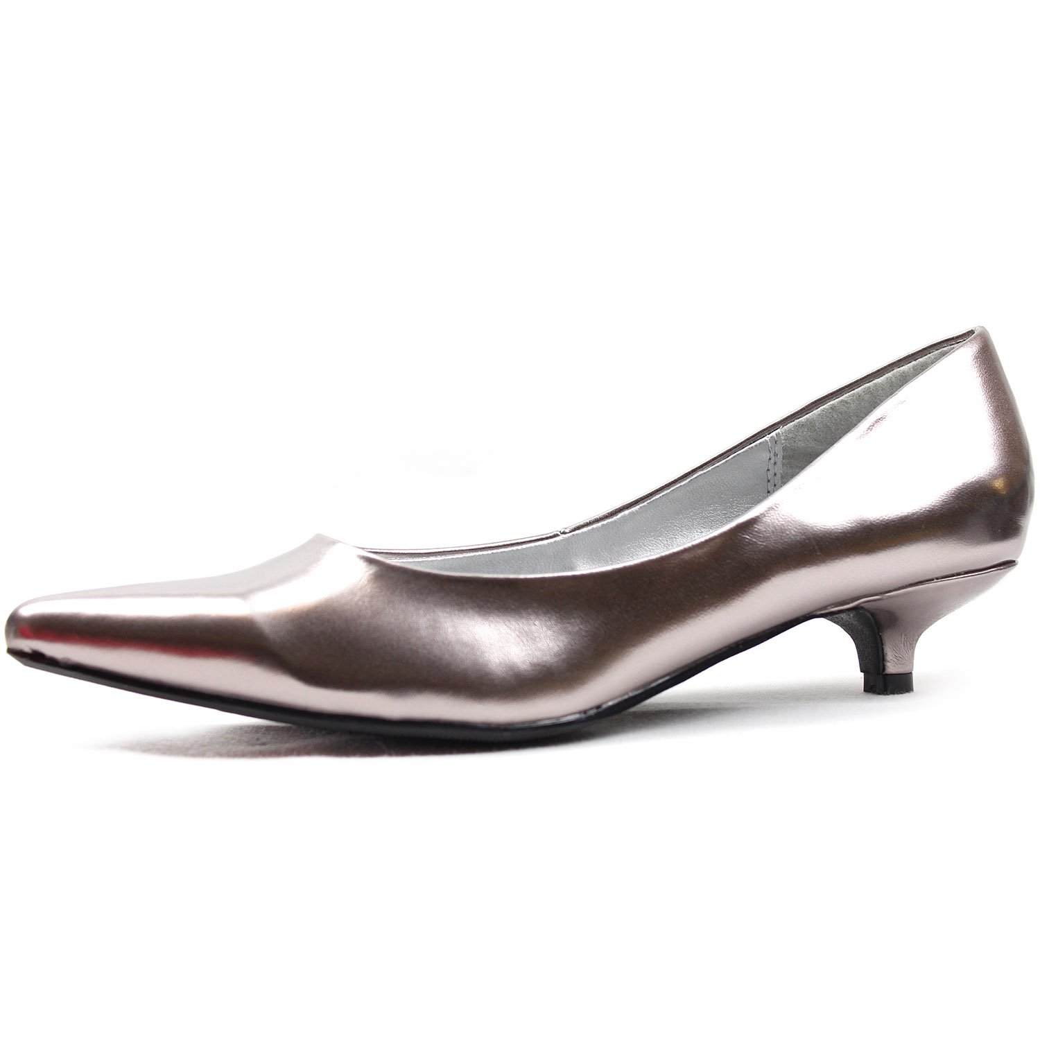 Women's Qupid High Heel Patent Leather Kitten Pointy Toe Comfortable Pumps Fashion Shoes