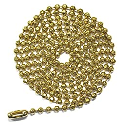 Pull Chain Extension, 30 Inch, Brass Beaded Ball Chain With Connector, Pack Of 10