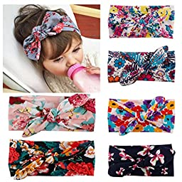 Little Mouse ® Assorted 6 Colors Baby Girl\'s Elastic Hair Hoops Headbands/ Newest Turban Headband Head Wrap Knotted Hair Band (Assorted of 6 colors)