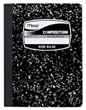 Mead Composition Book, Wide Ruled, 9.75 x 7.50 Inch Sheet Size, Black Marble, Bookbound, 100 Sheets, 12 Pack (09910)