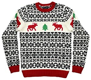 Ugly Christmas Sweater - Holiday Reindeer Men's Sweater in Antique