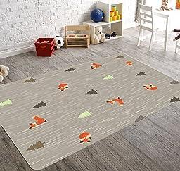 HawkerPeddler Nursery Playroom Children Woodland Animal Fox Gray 5ft x 4ft Mat