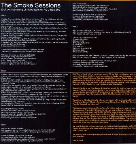 The Smoke Sessions: 10th Anniversary [Limited Edition 4-CD Set] by Cedar Walton Trio, One For All, Harold Mabern Trio, Peter Bernstein Trio and Bruce Bath Trio