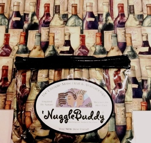 "'Nugglebuddy Moist Heat & Aromatherapy Organic Rice Pack For Microwave. Wine Lovers Fabric! Say ""Hello"" To Your New Best Friend! Unscented."