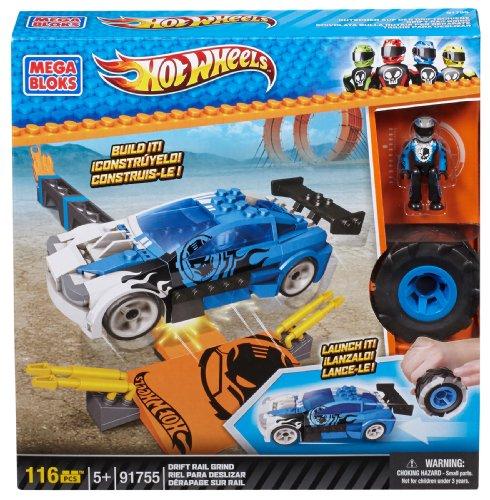 Mega Bloks 91755 - Hot Wheels Drift Rail Grind, Konstruktionsspielzeug