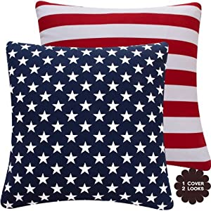 Amazon.com - Chloe & Olive Red, White and Blue Collection USA Flag and Stripes Reversible Pillow ...