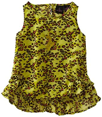 Baby Phat - Kids Girls 2-6X Printed Chiffon High Low Tank Top, Lime Punch, 3T