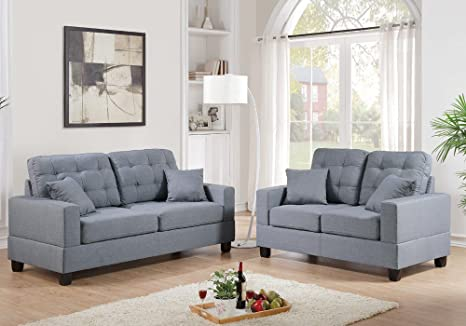 1PerfectChoice Modern 2 pc Sofa Loveseat Couch Set Tufting Seating Grey Polyfiber Fabric Pillow