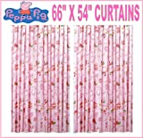 PEPPA PIG PINK BED TIME TAB TOP READY MADE CURTAINS SET 66