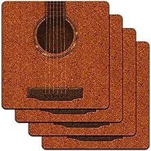 Acoustic Guitar Strings Low Profile Cork Coaster Set