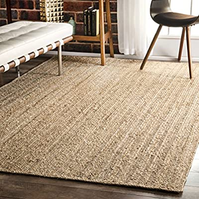 nuLOOM Hand Woven Rigo Jute rug Area Rug, 6-Feet x 9-Feet, Natural