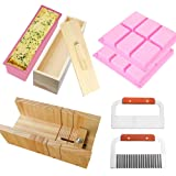 RETON 8 Pack Soap Making Cutting Tool Set Including 1 x Wooden Cutter Mold, 1 x Rectangle Silicone Loaf Mould with Wood Box and Cover, 1 x Straight Cutter, 1 x Wavy Slicer, 2 x 6 Cavities Soap Mold
