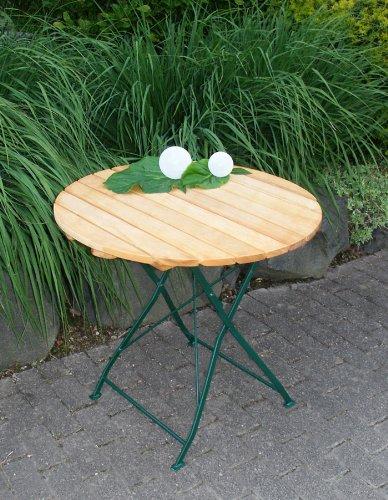 Klapptisch Bad Tölz 77cm rund, Stahl grün + Robinie günstig bestellen