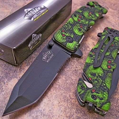 Master Tactical Tanto Green Skull Camo Rescue Knife New