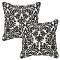 Pillow Perfect Decorative Blackbeige Damask Toss Pillows Rectangle 2-pack by Pillow Perfect