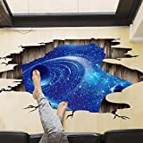 Amaonm Creative 3D Blue Vastness Universe Sky Planet Space Wall Decals Mural Removable DIY Wall Stickers Decor for Home Walls Floor Ceiling Kids Nursery Room Boy Girls Bedroom Bathroom Living Room (Color: Blue)