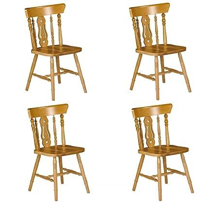 Julian Bowen Set Of 4 Yorkshire Fiddleback Chairs, Honey Pine