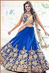 Khazanakart blue cotton bollywood and partywear designer lehenga for women