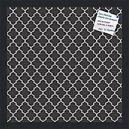 PinPix decorative pin cork bulletin board made from high quality canvas, Elegant Quatrefoil Pattern printed at 16x16 Inches and framed in Satin Black (PinPix-116)