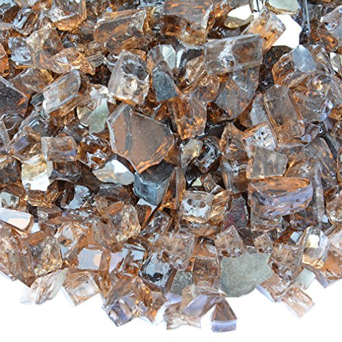 Onlyfire Reflective Fire Glass for Natural or Propane Fire Pit, Fireplace, or Gas Log Sets, 10-Pound, 1/4-Inch, Copper (Gas Fireplace With Glass Rocks compare prices)