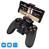 XFUNY PS3 Controller, Wireless Bluetooth Gamepad Dualshock 3 Gamepad Colorful backlights Enhanced Gamepad Suits with Clip for Android/iOS/Tablet/TV Box/PC/PlayStation 3 (Color: Black Gamepad)