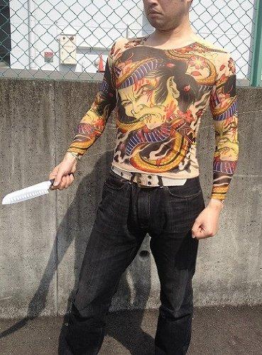 なんぼのもんじゃい Tシャツ 極道 刺青 ジョーク タトゥー おもしろ 本格派 ヤクザ デザイン ボディ タイツ (大親分)